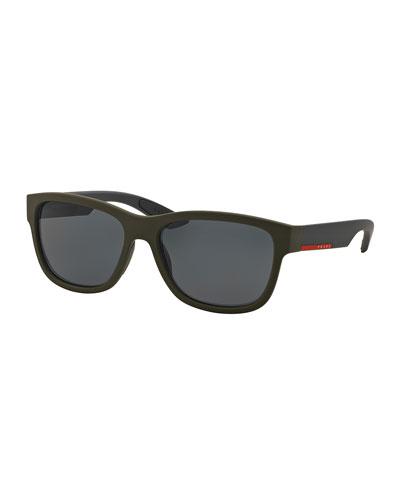 Square Nylon Sunglasses, Green