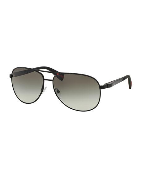 Metal Aviator Sunglasses, Gray/Black