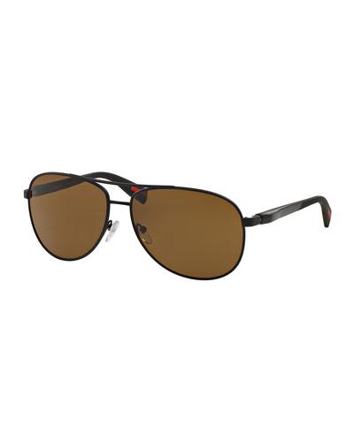 Metal Aviator Sunglasses, Black/Brown