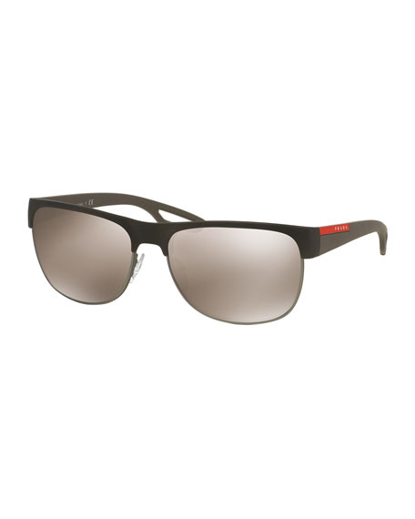 Rectangular Half-Rimmed Sunglasses, Brown
