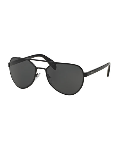 Metal Irregular Aviator Sunglasses, Gray