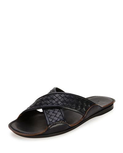 Crisscross Woven Sandal, Black