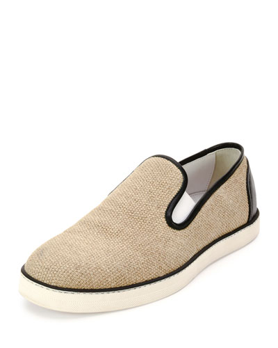 Woven Canvas Slip-On Sneaker, Natural/Black