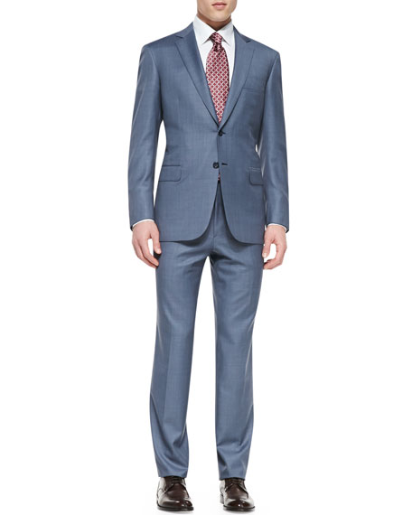 Brioni Tic Two-Piece Suit, Blue