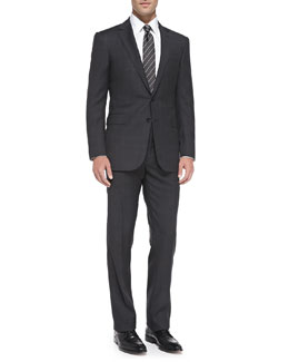 Anthony Textured Windowpane Suit, Charcoal