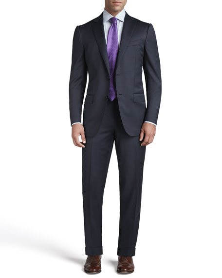 Tic Woven Two-Button Suit, Navy