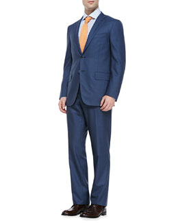 Check Two-Button Suit, Blue/Gray
