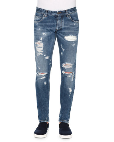Five-Pocket Distressed Denim Jeans, Blue