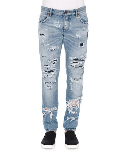 Light-Wash Distressed Denim Jeans, Light Blue