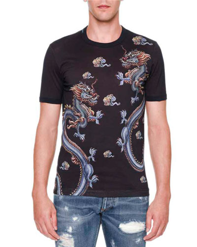 Dragon-Print Crewneck Tee, Blue