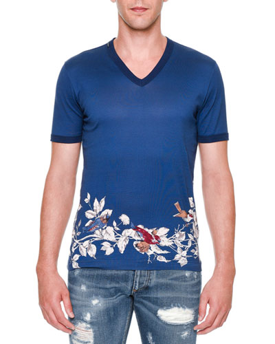 Bird-Print V-Neck Tee, Blue