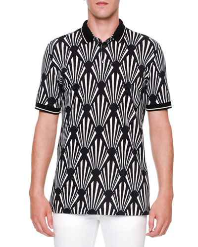 Geo-Print Short-Sleeve Polo Shirt, Black/White