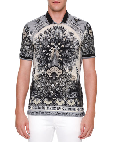 Peacock-Print Short-Sleeve Polo Shirt, Gray