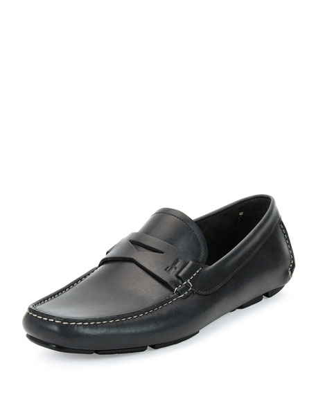 Calfskin Penny Driver, Gray