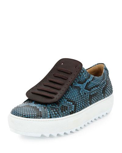 Lan 2 Python Runway Sneaker on Archival Sole, Blue