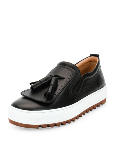 Lucca Calfskin Runway Sneaker with Oversized Tassels on Archival Sole, Black