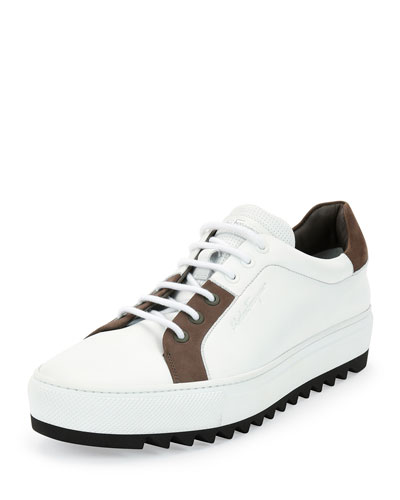Linx Calfskin and Nubuck Sneaker on Archival Sole, White/Gray