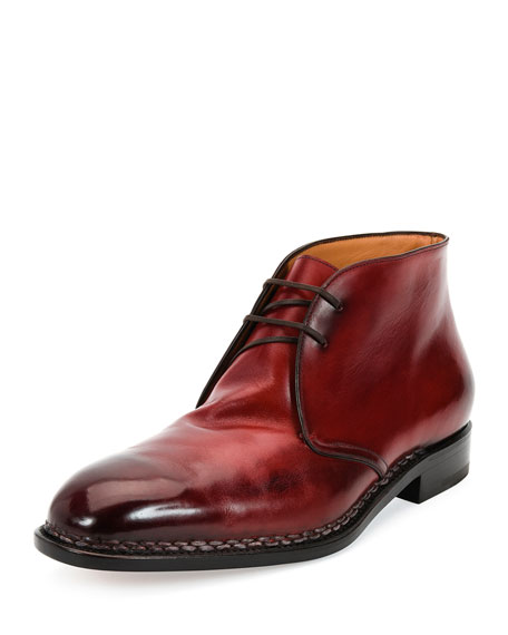 Tramezza Special Edition Burnished Calfskin Chukka Boot with Norwegian Welt, Red