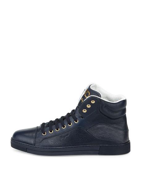 Calfskin High-Top Sneaker, Navy