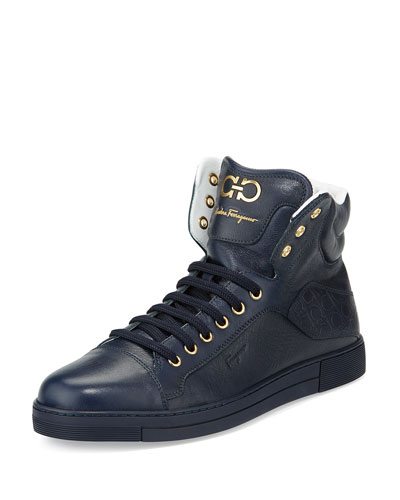 Stephen 2 Calfskin High-Top Sneaker, Navy