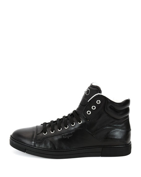 Stephen 2 Calfskin High-Top Sneaker, Black