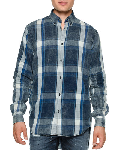 Chambray Plaid Button-Down Shirt, Blue