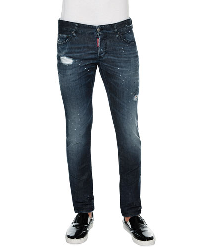 Slim-Fit Paint-Splatter Distressed Denim Jeans, Blue