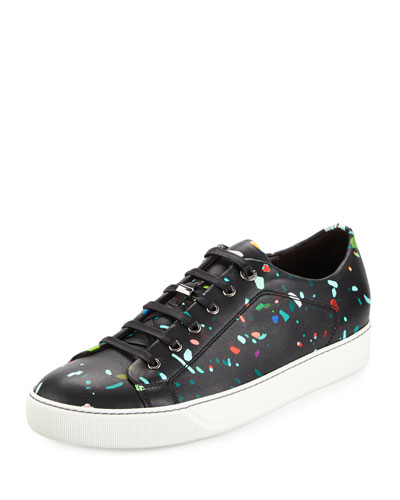 Confetti-Print Leather Low-Top Sneaker, Multi