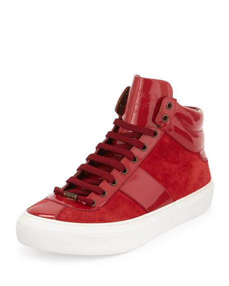 Jimmy Choo Belgravi Men's Leather High-Top Sneaker, Red