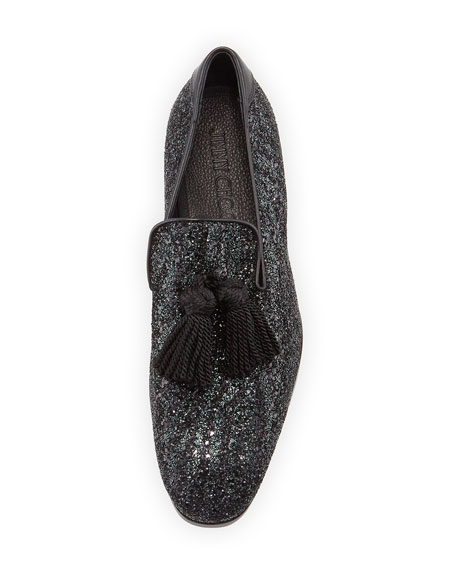 d2f3547374e Jimmy Choo Foxley Coarse Glitter Leather Tassel Loafer