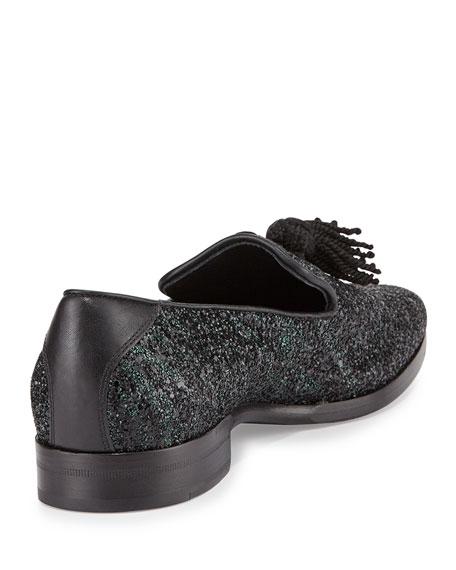 154e3f6d5dd Jimmy Choo Foxley Coarse Glitter Leather Tassel Loafer