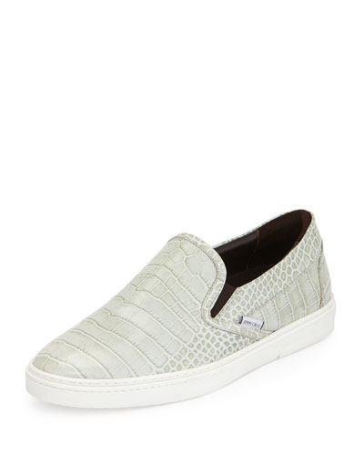 Grove Men's Crocodile-Embossed Slip-On Sneaker, Gray