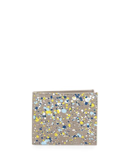 Paint-Splatter Leather Wallet, Gray