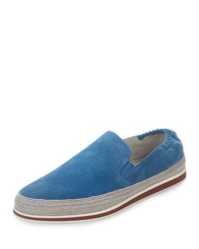 Suede Slip-On Espadrille, Blue