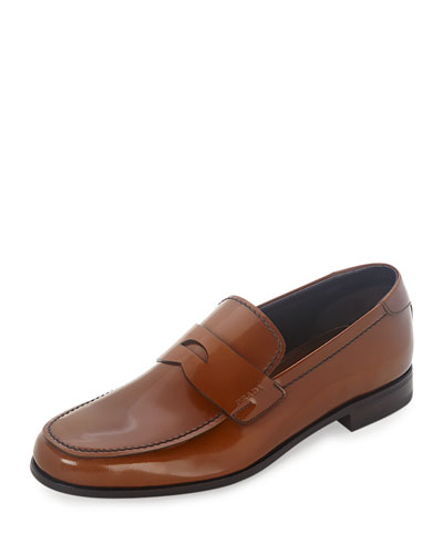 Patent Leather Penny Loafer, Light Brown