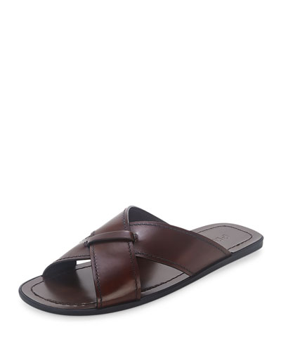 Crisscross Burnished Leather Sandal, Brown