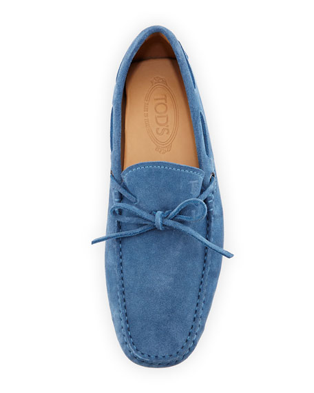 Gommini Suede Tie Driver, Light Blue