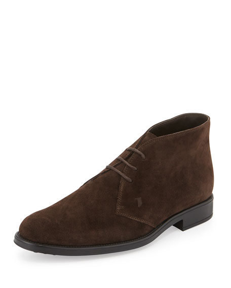 Suede Lace-Up Chelsea Boot, Brown