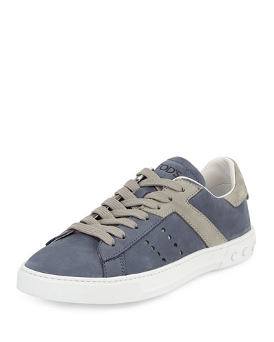 Suede Lace-Up Sport Sneaker, Blue/Gray