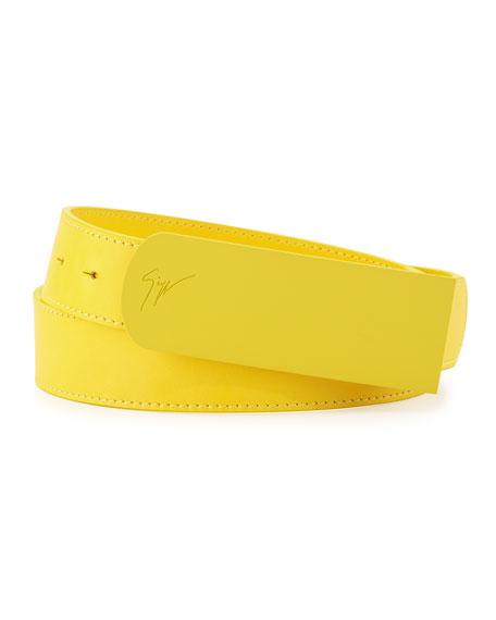 Men's Leather Matte-Buckle Belt, Yellow