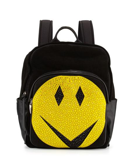 Men's Studded Smiley-Face Leather Backpack, Black