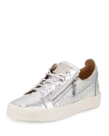 giuseppe zanotti men s faux ostrich leather low top sneakers silver rh bergdorfgoodman com