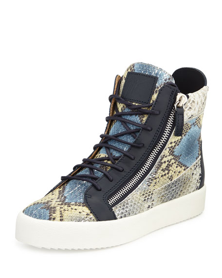 Men's Embossed Snake-Print High-Top Sneaker, Blue Multi