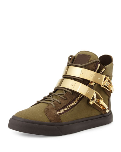 Men's Military Canvas High-Top Sneaker, Olive