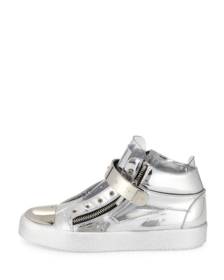 Men's Shiny Vinyl Mid-Top Sneaker, Silver