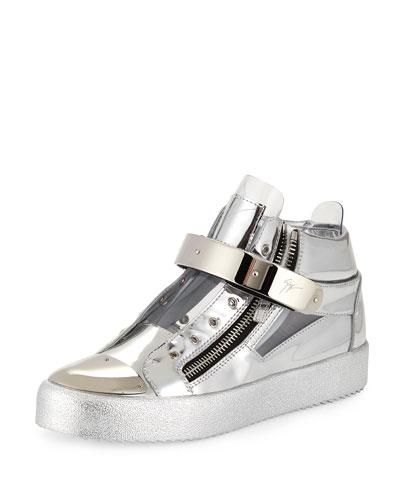 Men's Shiny Vinyl Mid-Top Sneaker, Silver