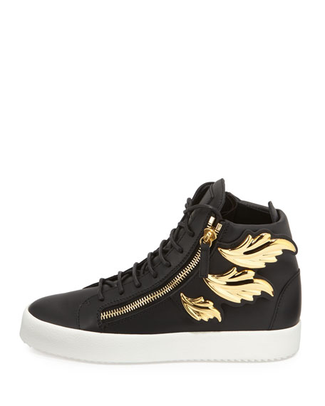 Men's Leather High-Top Sneaker with Golden Wings, Black