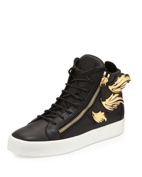 Men's Leather High-Top Sneakers with Golden Wings, Black
