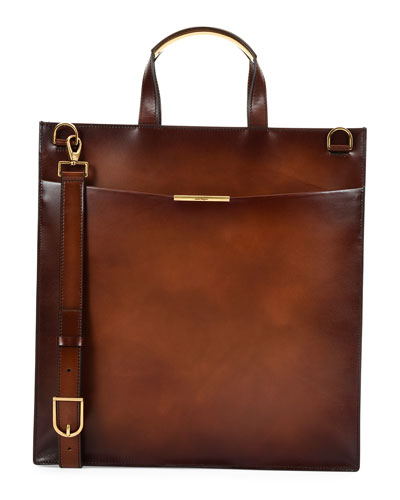 Edition Leather Tall Briefcase, Brown