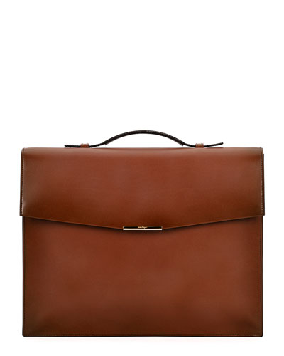 Single-Gusset Leather Briefcase, Brown